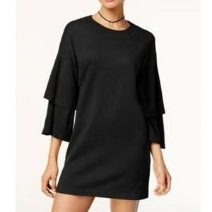 Womens Black Knit Sweater Ruffled Sleeve Dress